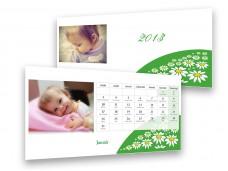 Kamillamezős asztali naptár
