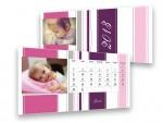 Rózsaszín-lila csíkos asztali naptár