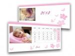 Rózsaszín pillangós asztali naptár